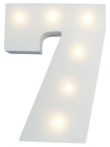 White Wooden Light Up Number 7